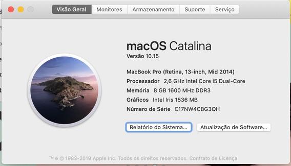 Macbook Pro 13 Mid 2014, Tela Retina, Core I5 - Paulinia