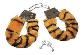 Algema De Metal Com Pelúcia Hand Cuffs Festas Fetiches