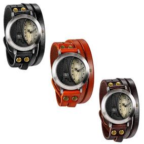 Kit 4 Relógio Pulseira Couro Vintage Ccq 2 Laranja E 2 Preto