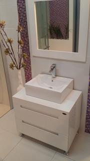 Muebles Para Baño Mdf Color Blanco Espejo Y Gabinete Aby