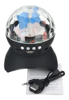 Parlante Portable Bluetooth Con Bola De Luces Leds Giratoria