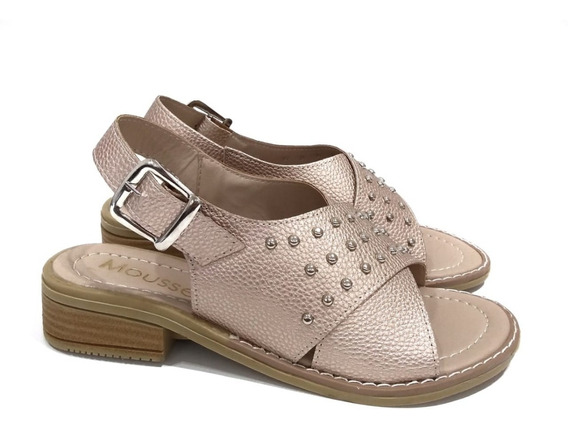 Zapatos Sandalias De Mujer Dama Bajas Chatitas Tachas Moda Primavera Verano Simil Cuero