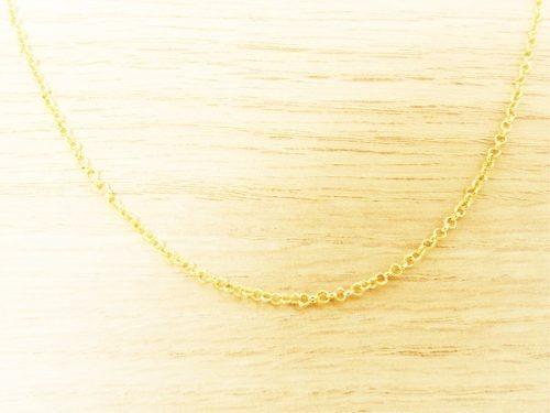 Cordão Feminina Elo Português Fina 50cm 2mm Folheada Á Ouro