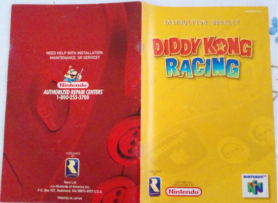 Manual Original Americano Diddy Kong Racing N64 Nintendo 64