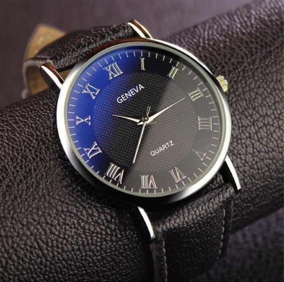Relógio Masculino Geneva Marrom Clássico Original - Couro