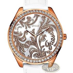 Relógio Guess Feminino Original Pulseira Couro Branco Rose