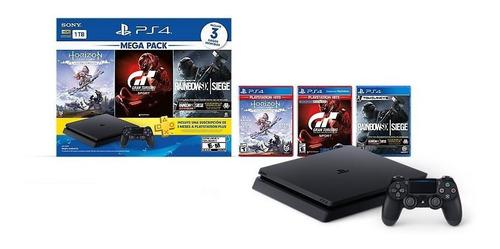 Imagen 1 de 2 de Sony PlayStation 4 Slim 1TB Mega Pack: Tom Clancy's Rainbow Six Siege/Horizon Zero Dawn/Gran Turismo Sport color  negro azabache