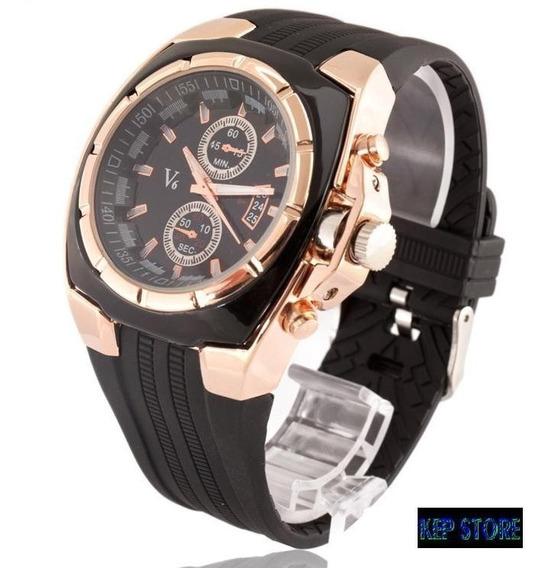 Relógio Masculino V6 Analógio Dourado Speed Quartz Original
