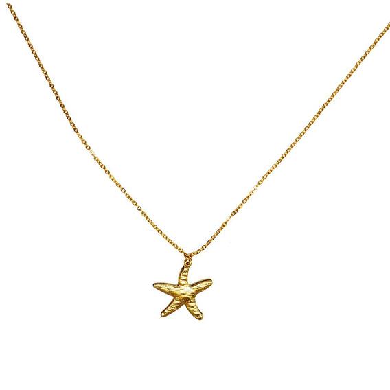Colar Pingente Elos Estrela Do Mar Banhado Ouro 18k