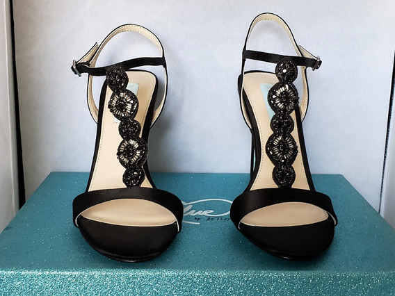 Zapatos Zapatillas Tacones Betsey Johnson Chloe Black Satin
