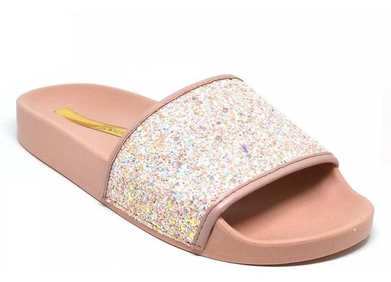 Chinelo Feminino Slide Moleca Glitter Brilho 5414.107