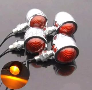 4 X Mini Piscas Bullet Metal Moto Custom Cafe Racer Só Hoje