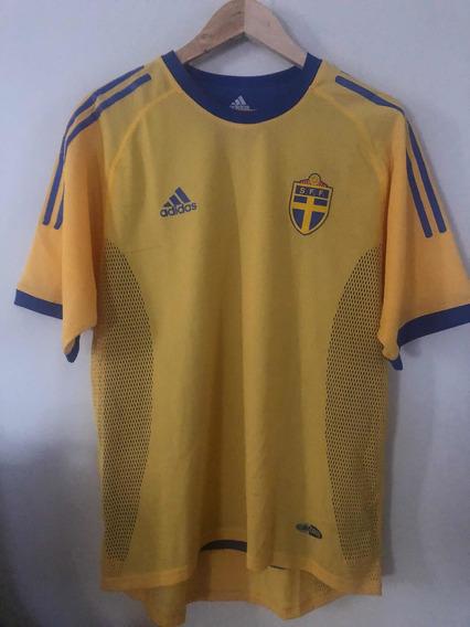 Camiseta Selección Suecia 2002 Doble Tela Versión Juego M