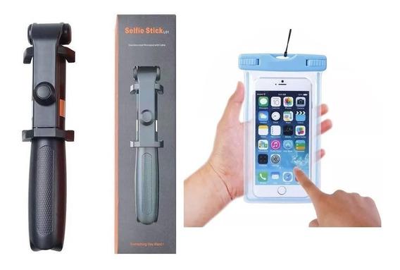 Pau De Selfie Tripé Sem Fio Bluetooth Similar Xiaomi + Capa