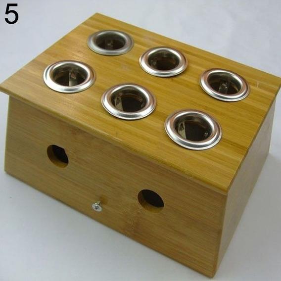 Caja De Bambu Para Moxa 6 Orificios Moxibustion Acupuntura