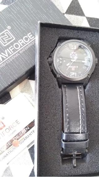 Relógio Naviforce Militar Esportivo Masculino Pulseira Couro