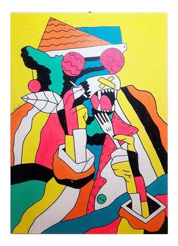 Imagen 1 de 2 de Cuadros Hombre Lobo Madera Original 40x60