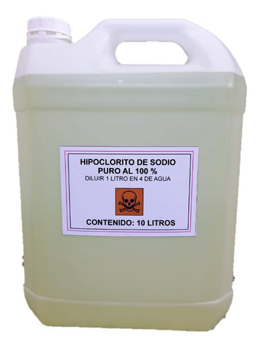 Hipoclorito De Sodio Puro Al 100 % Bidon 10 Lts Cloro Piscin