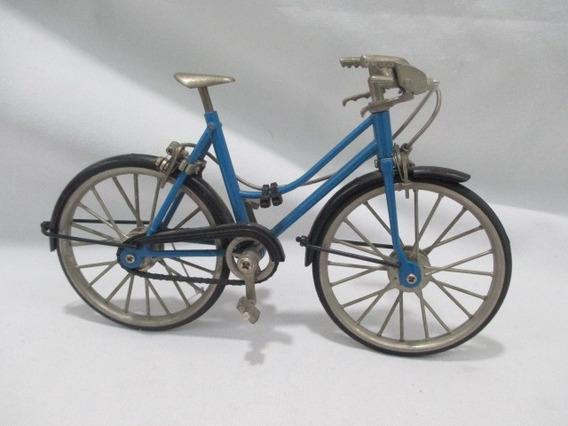 Antiga Miniatura De Bicicleta Rica Em Detalhes 19cm