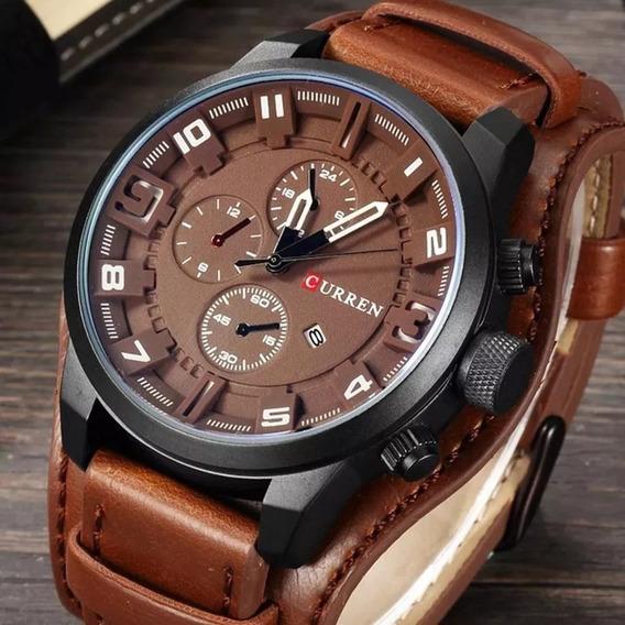 Relógio Curren Couro Masculino Original 8225