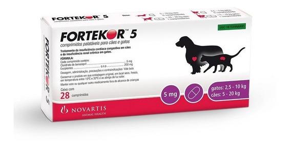 Fortekor 5 Tratamento Novartis Cães E Gatos 28 Comprimidos