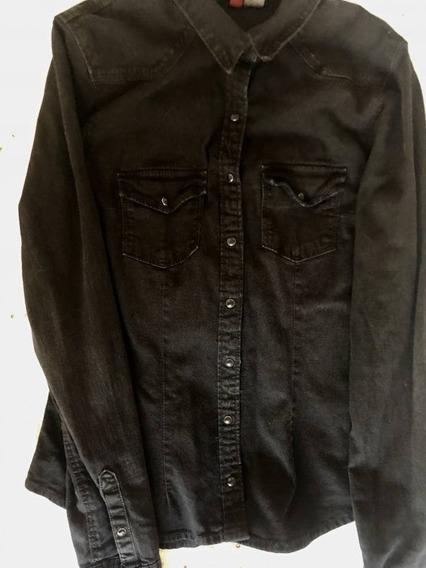 Camisa Mezclilla Negra H&m