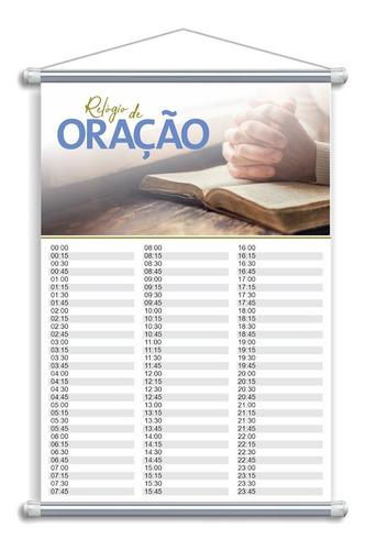 Lona Banner Cartaz Igreja Relógio De Oração 15 Min - 1 Unid