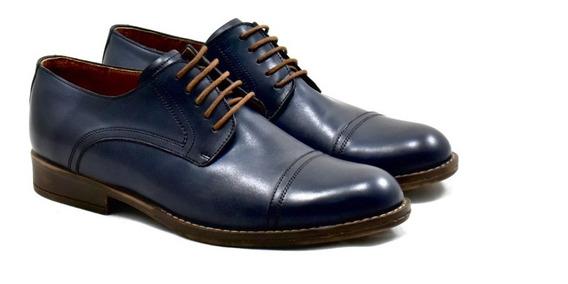 Zapato Azul De Cuero Bordeaux Leather Suela De Goma