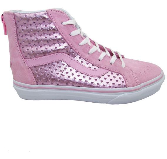 Tenis Vans Sk8 Hi Vn0a3276nfk Metallic Heart Perf Pink Piel