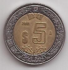 Mexico Moneda Bimetalica 5 Pesos Año 2011 !!