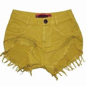 Lote C/ 02 Shorts Coloridos Sarja Feminino Curto C/ Botão