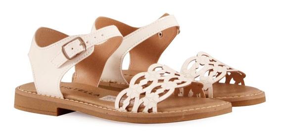 Sandalias Bajas De Cuero Grabado En Natural