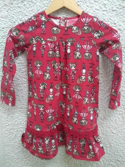 Vestido Infantil Tam 6 Momi Mini Estampado Renda