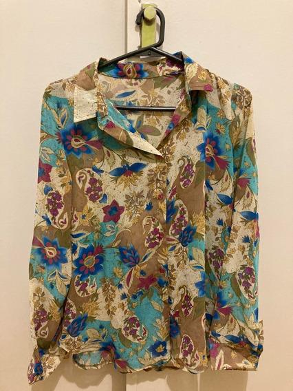Camisa Gasa De Flores Manga Larga