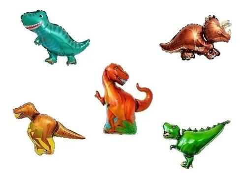 Globos Metalizados Dinosaurios X 5 Unidades 35cm Aprox