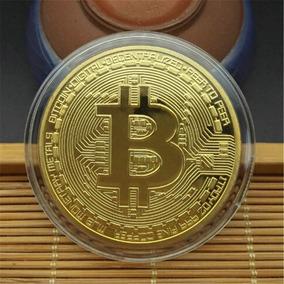 Moeda Bitcoin Banhado Ouro Comemorativa Original