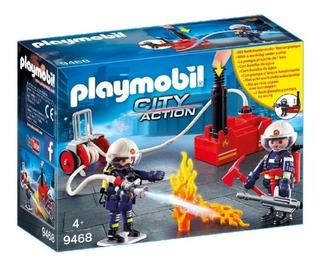 Playmobil - Bomberos Con Bomba De Agua