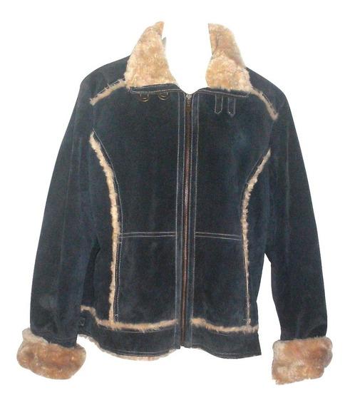 *** Chamarra De Piel Willsons Leather Con Forro Peluche Dama Americana Talla L Chaqueta Cuello Alto Iquidacion $2,590a