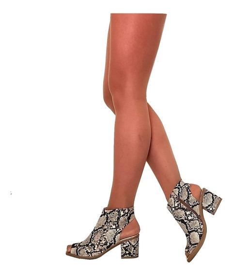 Zapatos Botineta Mujer Boca De Pez Taco Medio Primavera 2019