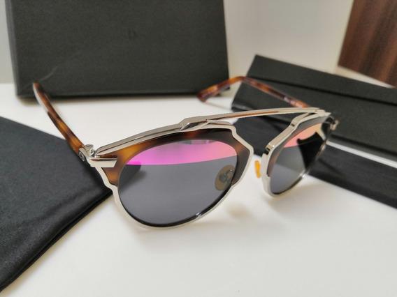 Óculos De Sol Dior Soreal Cromado, Marrom Havana E Preto