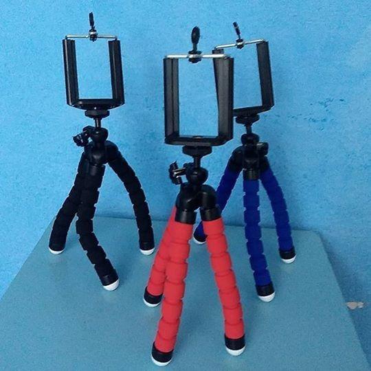Mini Tripé Flexível Universal Com Adaptador Para Celulares
