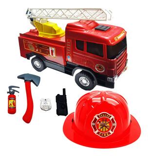 Caminhão De Bombeiro Grande Capacete Segurança Brinquedo Kit