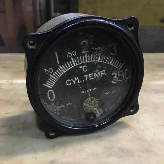 Instrumento De Avião Antigo Cyl Temp Relógio Aviação 419
