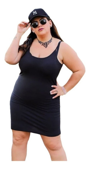 Vestido Feminino Curto Plus Size Canelado Justo Tubinho Com Bojo E Alcinha Básico Exg 48 Ao 52
