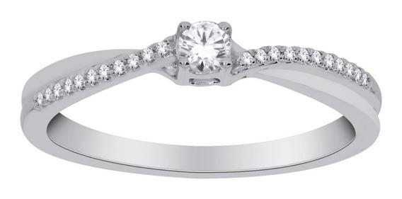 Anillo Para Dama De Oro De 14k Con 23 Diamantes Ghiberti