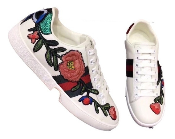 Tenis Gucci White&flowers 7 Y 71/2 Mex