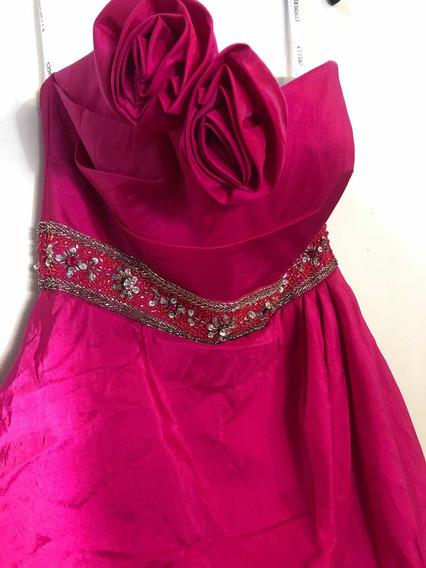 Hermoso Y Económico Vestido Para Xv Años . Color Rosa Fucsia