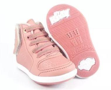 Coturno Menina Infantil Calce Facil Kidy Hibisco Rosa 4552