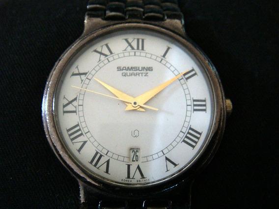 Elegante Reloj Samsung Quartz. Dial Blanco.