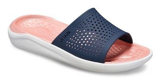 Chinelo Crocs Literide Slide Navy/ Melon Original